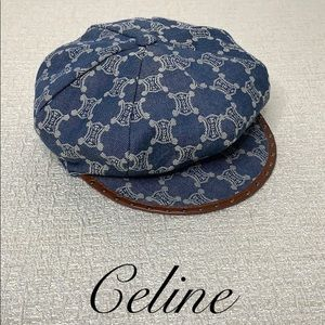 CELINE REVERSIBLE NEWSBOY CAP WITH LEATHER TRIM